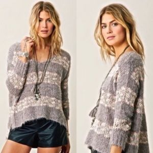 Free People Linus V-Neck Wool Knit Sweater Striped